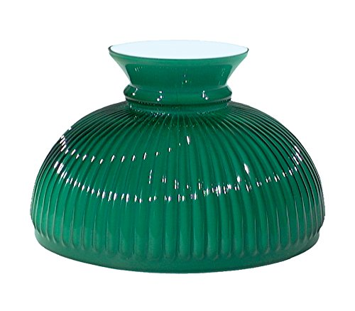 """B&P Lamp 10"""" Shade, Ribbed Student, Cased Green Over Opal"""