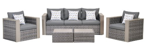 Atlantic 5-Piece Mustang Wicker Conversation Set with Grey Cushions - Mustang Patio Furniture