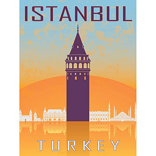 - Wee Blue Coo Travel Tourism Istanbul Turkey Galata Tower Byzantine Vector Large Art Print Poster Wall Decor 18x24 inch