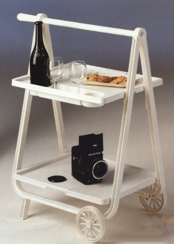 Plastmeccanica, Italy Serving Cart, Tea Trolley, Foldable Space Save, Handle, Indoor or Outdoor with Wheels, Italian, White by Plastmeccanica, Italy