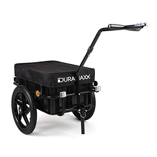Duramaxx Big Black Mike Fahrradanhänger Lasten Fahrradhänger mit Hochdeichsel (70 Liter, Kugel-Kupplung für Fahrräder mit 26'' - 28'', verkehrssicher, Auto-Ventil, inkl. Regenschutz Plane) schwarz