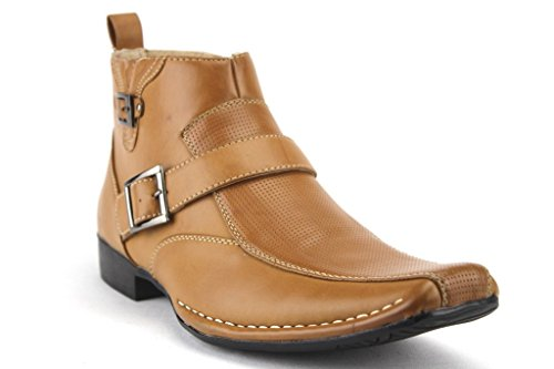 Bonafini Men's D-622 Ankle High Buckle Strap Squared Toe Dress Boots, Tan, 7