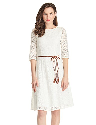 Lookbook Store LookbookStore Women's Ivory White Lace 3/4 Sleeves A Line Knee Length Dress
