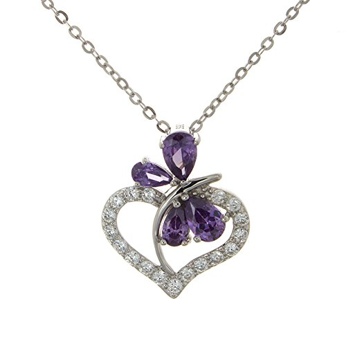 925 Sterling Silver Keepsake Purple Butterfly Love Heart Shaped Necklace Pendant with CZ Stones with (Butterfly Heart Pendant)