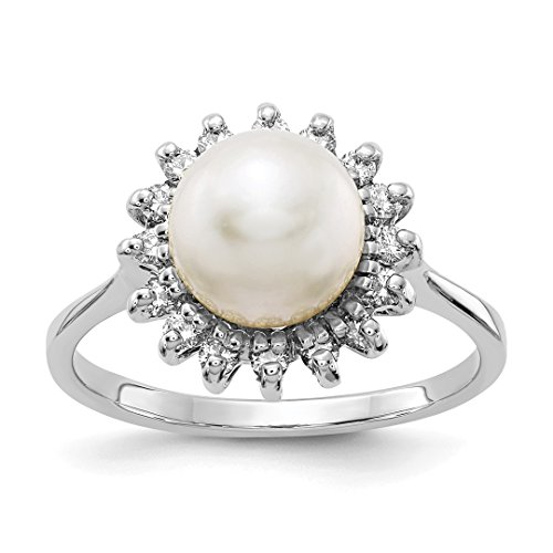 Ring Gold 14kt Pearl Ladies (ICE CARATS 14kt White Gold 7.5mm Freshwater Cultured Pearl Diamond Band Ring Size 6.00 Fine Jewelry Ideal Gifts For Women Gift Set From Heart)