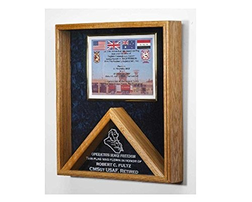 Military certificates and flag frames - combo flag case can