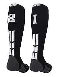 Black/White Player Id Custom Over The Calf Number Socks (Pair)