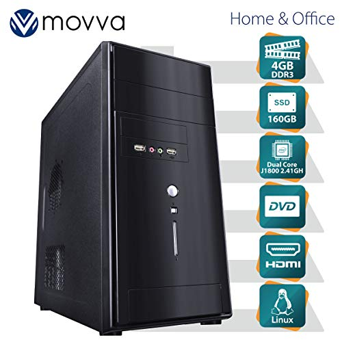 COMPUTADOR LITE INTEL DUAL CORE J1800 2.41GHZ MEMÓRIA 4GB SSD 160GB HDMI/VGA DVD-RW FONTE 200W LINUX - MVLIJ1800S1604G - MOVVA