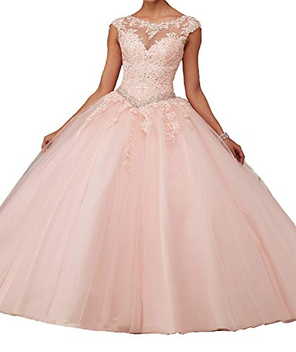 - CharmingBridal Cap Sleeve Basque Tulle Prom Ball Gown Quinceanera Dresses
