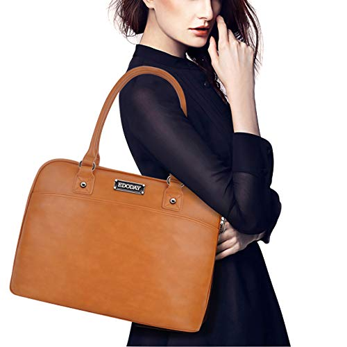 EDODAY Laptop Tote Bag,15.6 Inch Laptop Bag for Women Classic Laptop Case Work Bags for Women,Brown ()