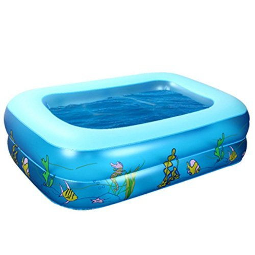 Kid Cartoon Underwater World Pattern Inflatable Aerated Square Swimming Pool