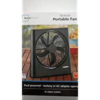 Mainstays 10 Inch Portable Fan Dual Powered Battery/AC New Black
