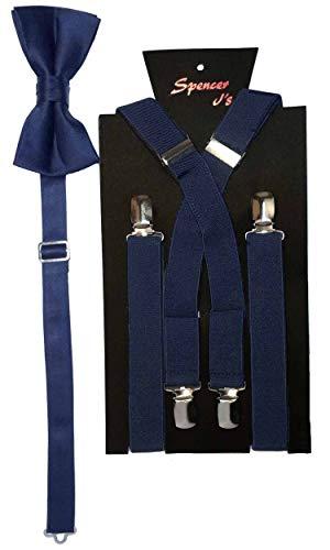 Spencer J's Men's X Back Suspenders & Bowtie Set Verity of Colors (Navy) -