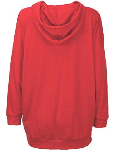 Sodossny Cappuccio au Canguro Tasca Donne Con Vestito Pullover Tunica Maniche Lunghe Camicie Rosso Felpe rnrTAXdxqU