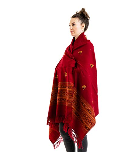 - Meditation Shawl by Om Shanti Crafts | Prayer Shawl for Daily Meditation, Unisex (Red)