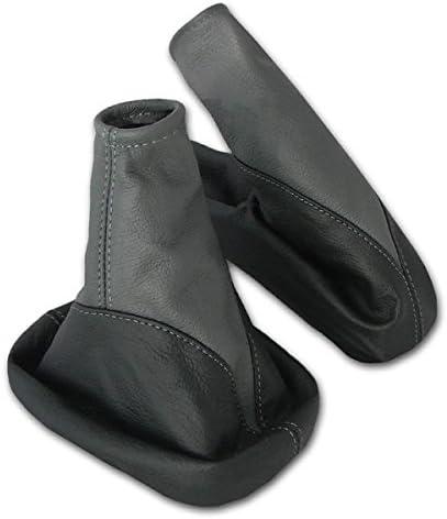 L/&P A106-6 Funda saco cuero de 100/% real piel genuina negro gris con costura gris de palanca de cambios cambio velocidad velocidades marchas saco de conmutaci/ón y freno de mano estacionamiento negro-gris