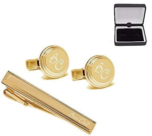 Personalized Gold Beveled Edge Cufflinks /& Tie Clip Set Custom Engraved Free