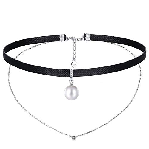 Genuine Pearl Braided Leather Necklace - RED TREE Choker Necklace, Genuine Leather Braided Rope Chokers S925 Sterling Silver Extender, Adjustable Personalized Collar Choker Most Necks (#Style 5)