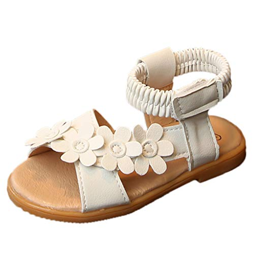 Tantisy ♣↭♣ Baby Girls Flower Open Toe Beach Sandals Summer Fashion Flat Pricness Shoes for Big Kids/Little Kids Beige