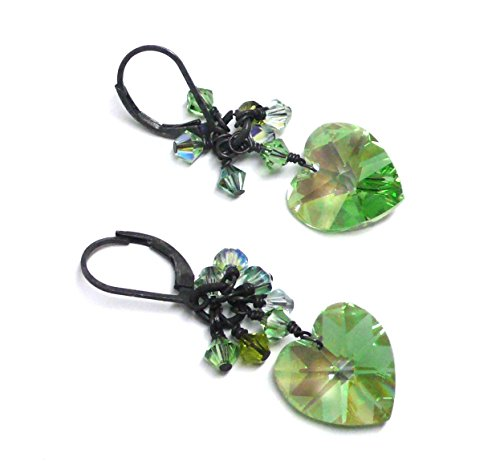 14x14mm Austrian Crystal Heart Spring Green Cluster Drop Earrings