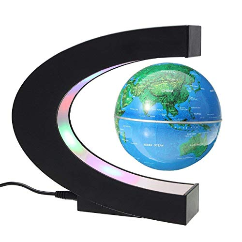 MECO 3'' Funny C Shape Magnetic Levitation Floating Globe World Map with Colored LED Light Anti Gravity Globe for Children Gift Home Office Desk Decoration Blue by MECO