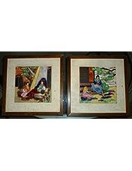 """Art tiles 2 vintage ceramic San Jose 8"""" tile framed arts & crafts unique framed"""