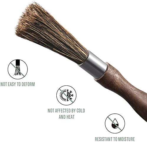 Coffee Tool for Barista Home Kitchen Coffee Grinder Cleaning Brush,Espresso Machine Cleaning Brush Natural Boar Bristles Walnut Handle with Lanyard