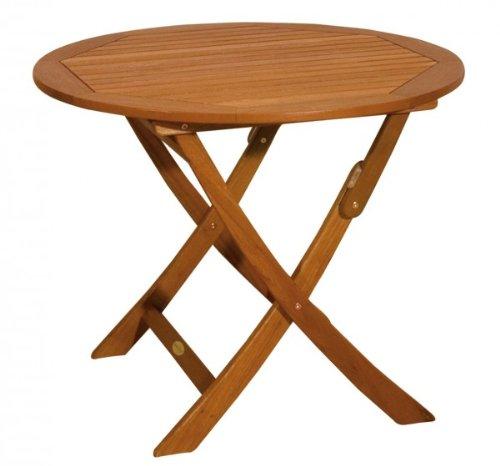 Klapptisch, Gartentisch, Holztisch, runder Tisch, klappbar, aus massivem Eukalyptusholz, geölt, FSC-zertifiziert