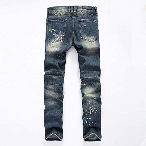 Pesanti Uomo Dritta Da Stile Skinny I Tutti Uomo Lunghi Aderenti Ufige Dritti Nummer7 Gamba Semplice Aderenti Jeans Pantaloni Strappati Lanceyy wqYtIR