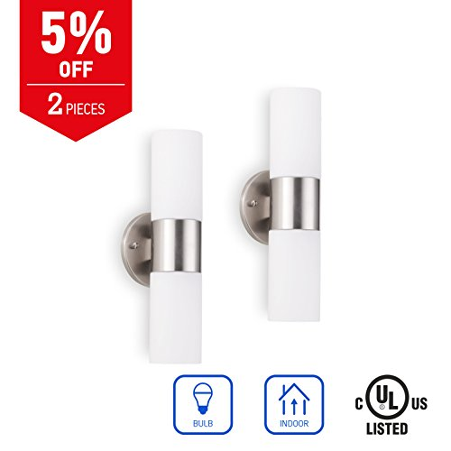 IN HOME 2-Light Wall Sconce Fixture WS13, Brushed Nickel Finish with White Glass Shade (2 PACK), UL - Two Light Nickel Sconce