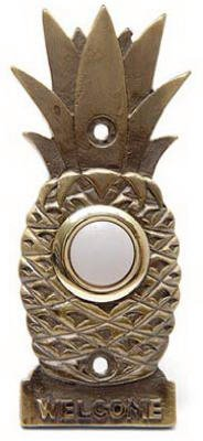 Thomas & Betts DH1670L Lighted White Push Chime Button With Solid Brass Pineapple Design Housing for Wired Chime System