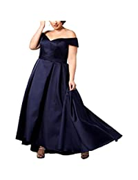 Xscape Womens Plus Off-The-Shoulder Ball Gown Formal Dress