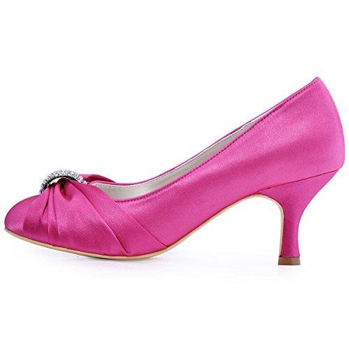 Mariage Escarpins Rose Mariee Elegantpark Femme Chaussures Bal Hc1526 Satin De R0wSqx1w