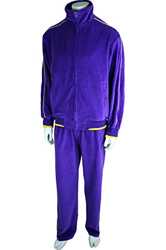 Lakers Warm Up Pants (Sweatsedo Mens Purple Velour Tracksuit With Yellow Piping (Small))
