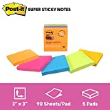"""Post-it Notes Super Sticky Notes, 3"""" x 3"""", 5 Pads, 90 Sheets/Pad, Rio de Janeiro Colours"""