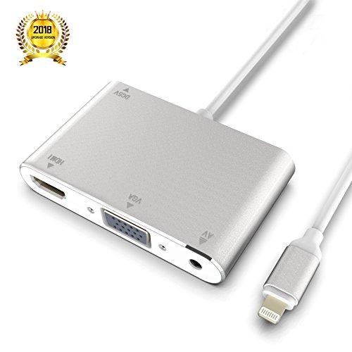Apple Component Tv - Lightning to HDMI VGA AV Adapter Converter, Dansrue 4 IN 1 Plug and Play HDMI/VGA/Audio/AV Multiport Digital Adapter Connector for iPhone X 8 7 6 6s 5 Plus iPad iPod on HDTV Projector (Silver A)