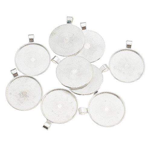 Towashine 10Pcs 30mm Round Bezel Pendant Trays Blank Cabochon Cameo Base Jewelry Making Supplies - Shiny Silver Color