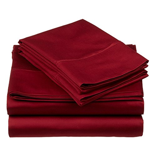 New Laxlinen 350 Thread Count 100% Egyptian Cotton Super Quality 1PC Flat Sheet(Top Sheet) King/Standard Size, Burgundy Solid hot sale