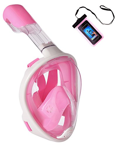 UooCooL 180° Full Face Snorkel Mask- Panoramic view Snorkeling Mask For Adults And Kids, Breathe freely With Anti Fog And Anti Leak Design, See More with a Larger Viewing Area(Pink, S/M)