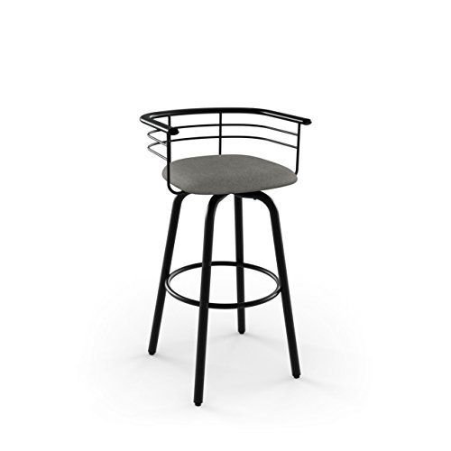 (Amisco Turbo Swivel Metal Counter Stool in Textured Black Metal and Light Cold Grey Polyester)