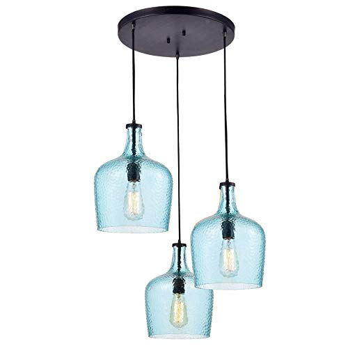 Jojospring Belinda Mouth-Blown Blue Glass Cluster Pendant Chandelier in Antique Black Finish