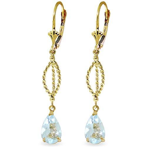 3 CTW 14K Solid Gold Fleur De Lis Aquamarine Earrings