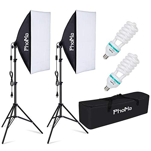 PHOMIA Softbox Lighting Kit 135W 20 x 28 Inch Studio Photography Continuous Light with 82.7-Inch Stand and Reflectors…