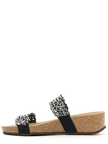 cuña negro de los pernos prisioneros sandalias de cuero sandalias de las mujeres Grünland ANIN CB1064 negro