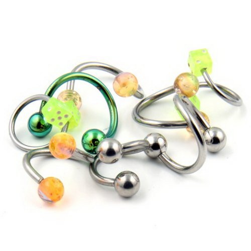 JewelryVolt Lot of 8 16g & 14g Sugical Steel Belly Button Rings
