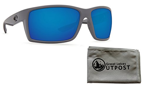 Costa Reefton Matte Gray Blue Mirror 580P Sunglasses Bundle with Cloth