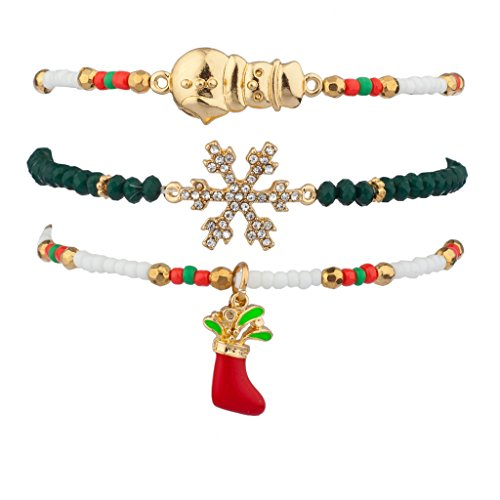Lux Accessories Stocking Stuffer Pave Crystal Snowflake Snowman Christmas Xmas Beaded Stretch Bracelet Set