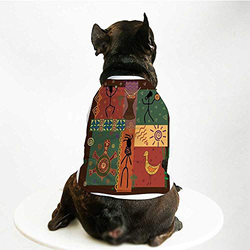 YOLIYANA Primitive Cute Pet Suit,Funky Tribal Pattern Depicting African Style Dance Moves Instruments Spiritual for Small Medium Large Size Dogs Cats,M
