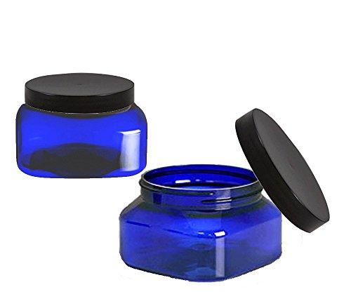 Grand Parfums 8 Oz Cobalt Blue Square PET Jar Straight Sides Black Caps - 70mm - Pack of 6-240mL Volume