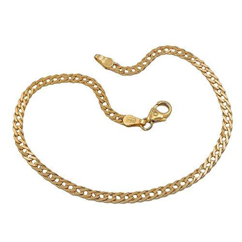 Bracelet, double gourmette 19cm, or 14carats